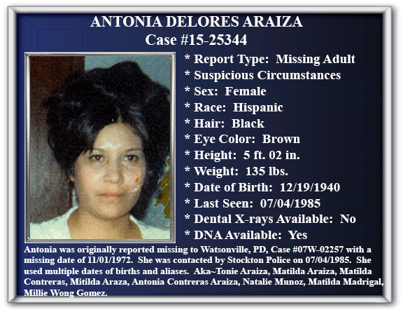 Missing Persons Flyer of Antonia Araiza