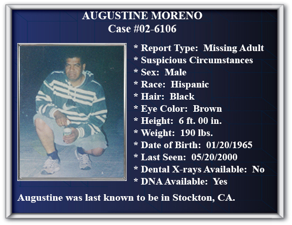 Missing Persons Flyer of Augustine Moreno