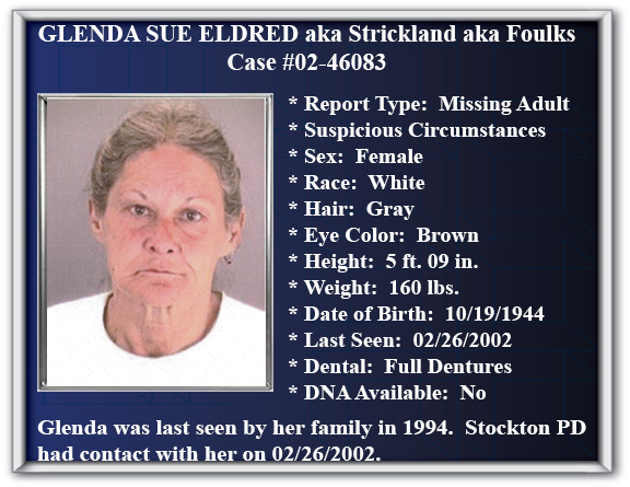 Missing Persons Flyer of Glenda Sue Eldred